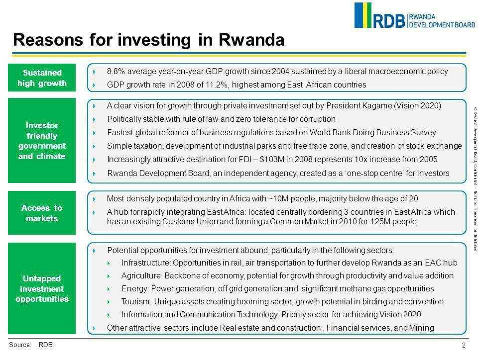 © Rwanda Development Board, Confidential – Not to be reproduced or distributed A clear vision for growth through private investment set out by Preside