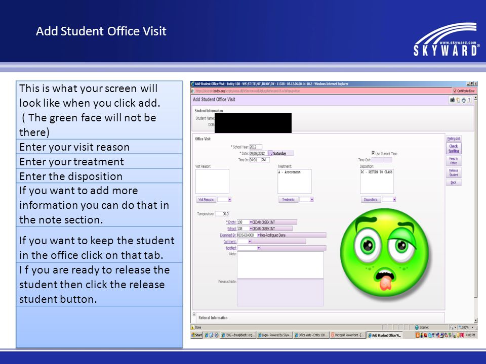 Entering office visits Student Profile tab