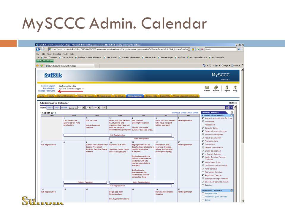 MySCCC Admin. Calendar