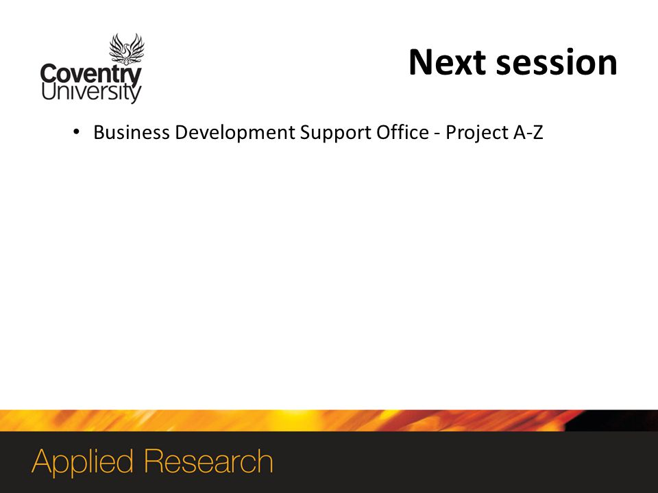 Next session Business Development Support Office - Project A-Z