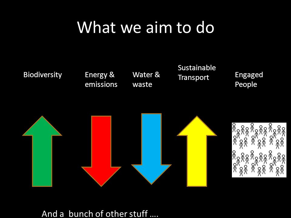 What we aim to do BiodiversityEnergy & emissions Water & waste Sustainable Transport Engaged People And a bunch of other stuff ….