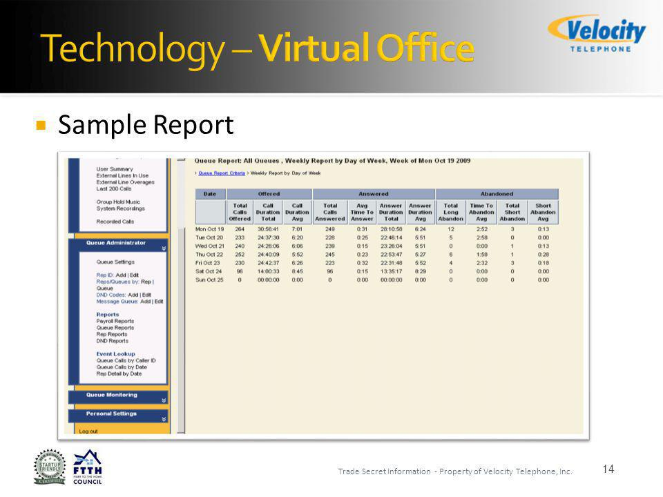 Sample Report 14 Trade Secret Information - Property of Velocity Telephone, Inc.