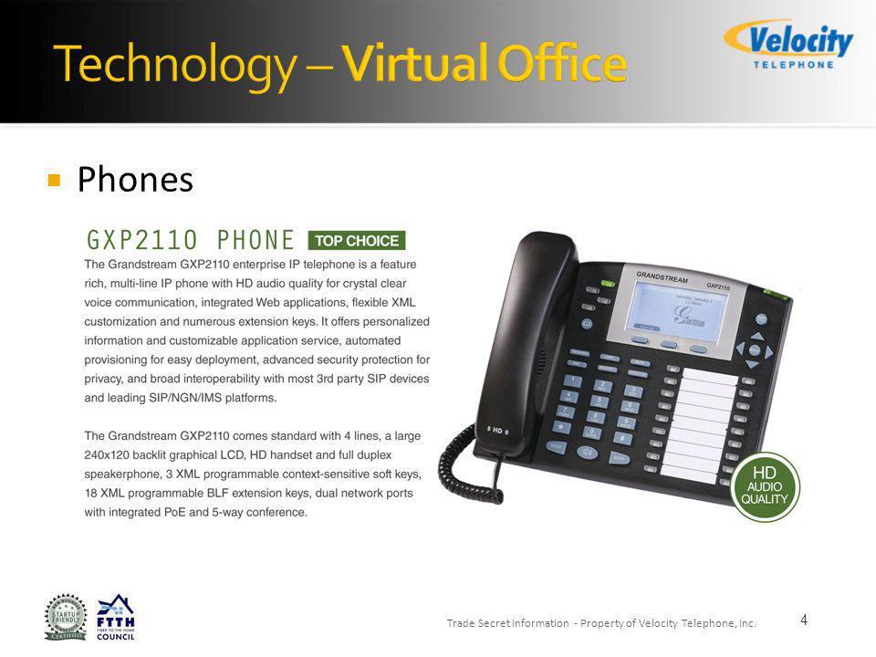 Phones 5 Trade Secret Information - Property of Velocity Telephone, Inc.