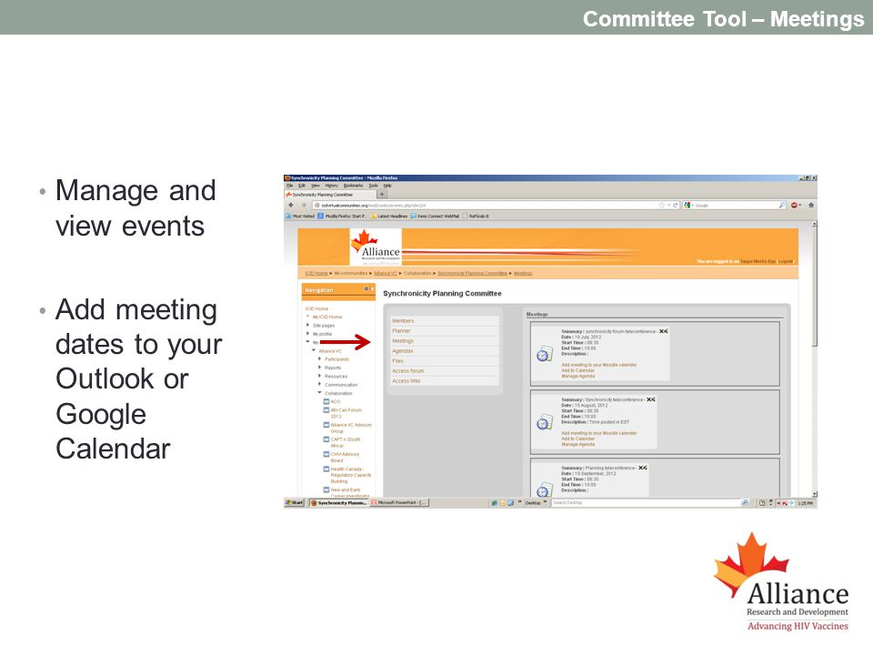 Committee Tool – Meetings Manage and view events Add meeting dates to your Outlook or Google Calendar