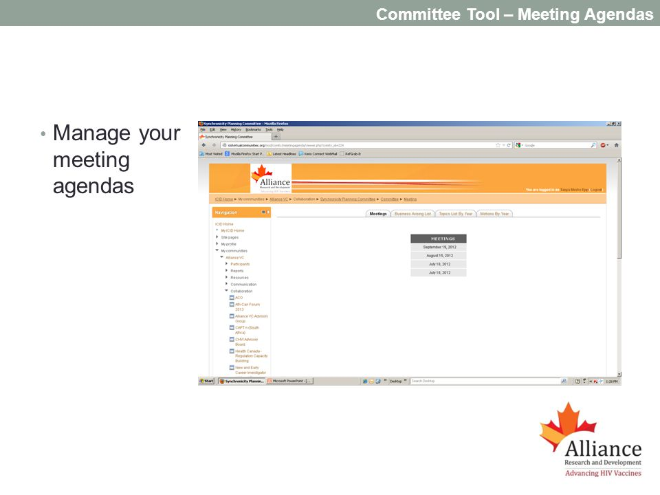 Committee Tool – Meeting Agendas Manage your meeting agendas