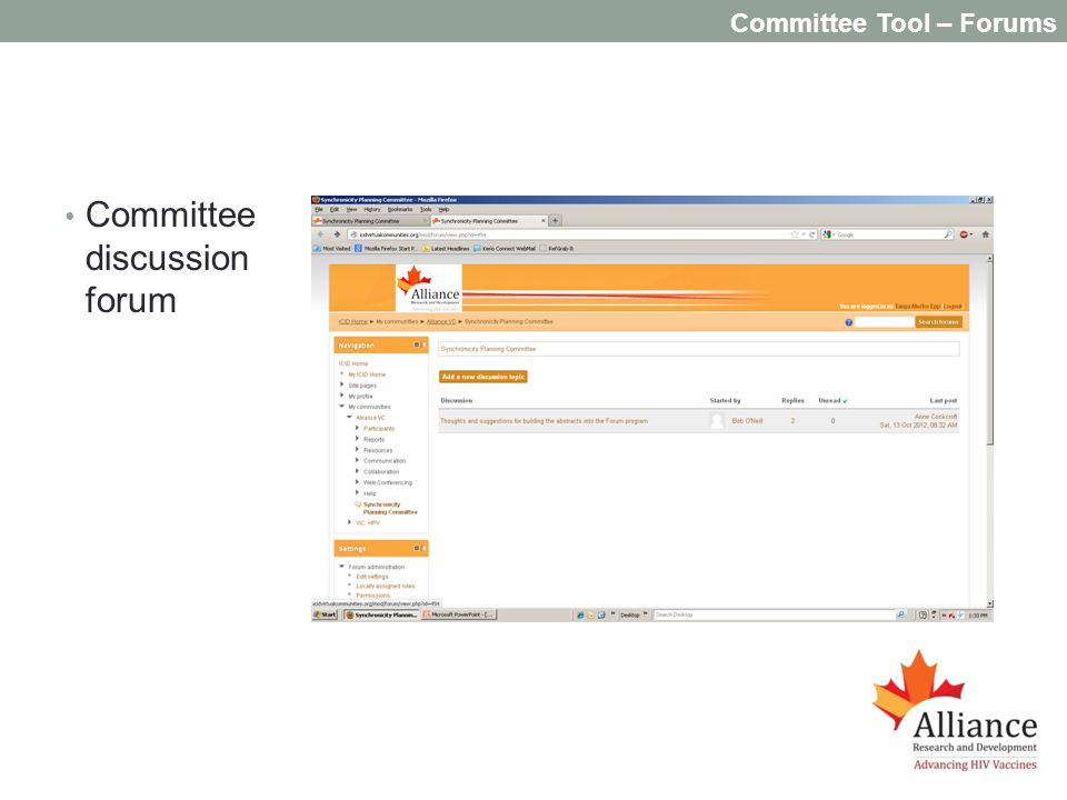 Committee Tool – Forums Committee discussion forum