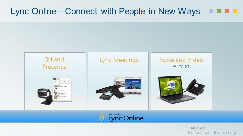 Solution Briefing Lync OnlineConnect with People in New Ways Lync Meetings Voice and Video PC to PC IM and Presence