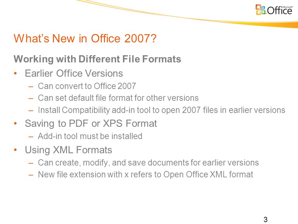 Whats New in Office 2007.
