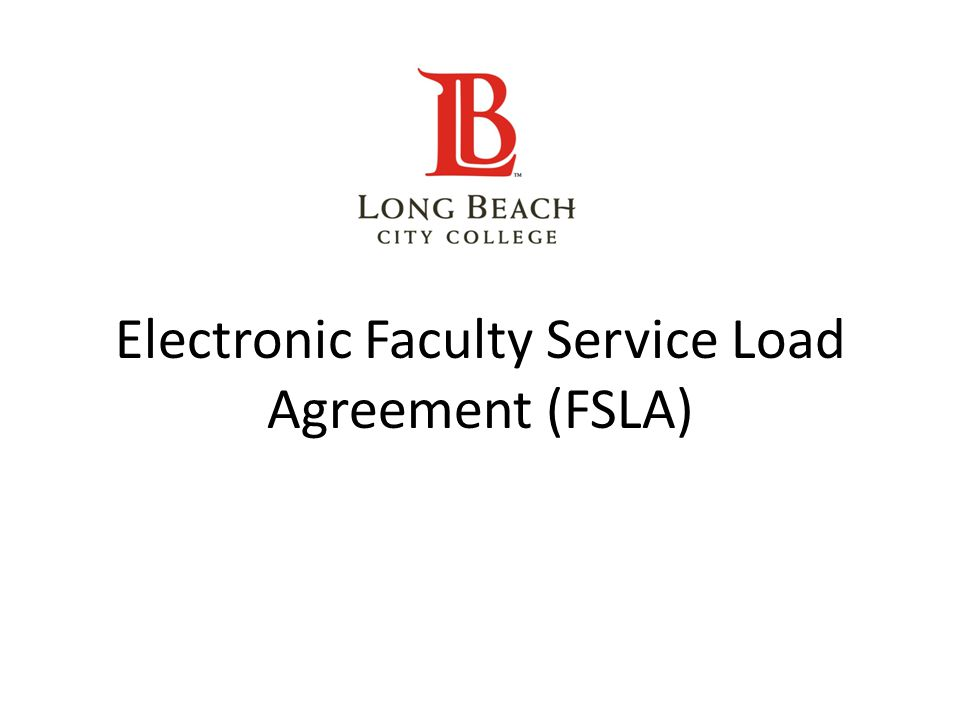 Electronic Faculty Service Load Agreement (FSLA)