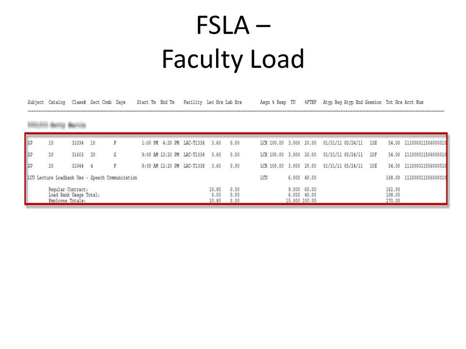FSLA – Faculty Load