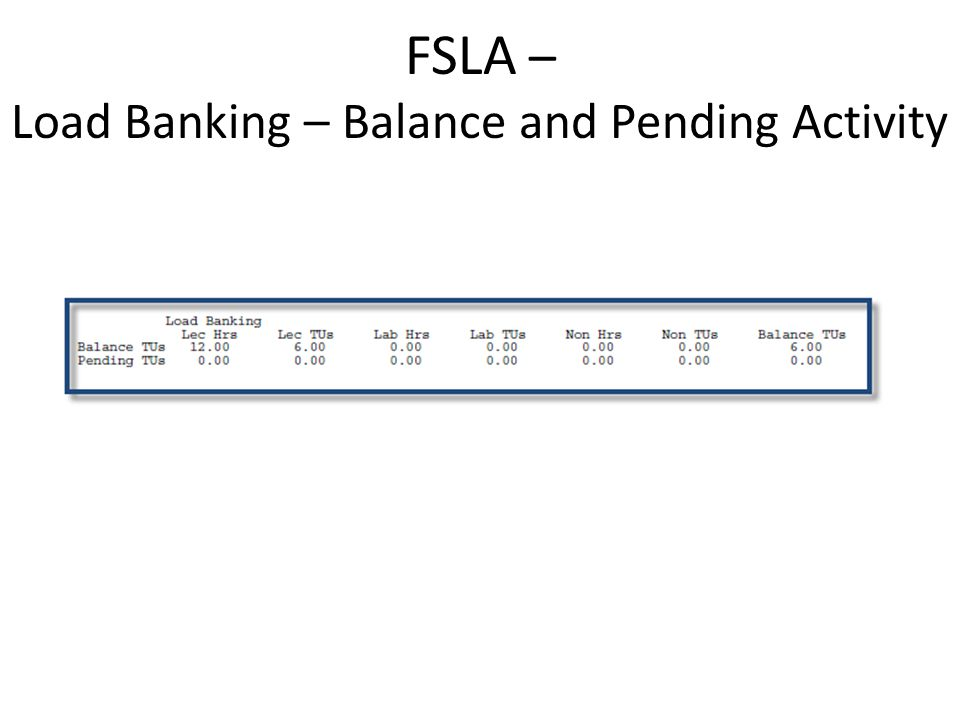 Load Bank Maintenance Screen Load Banking – Balance and Pending Activity All Load Bank Balances, as of the end of Spring 2011 are loaded as Initial.