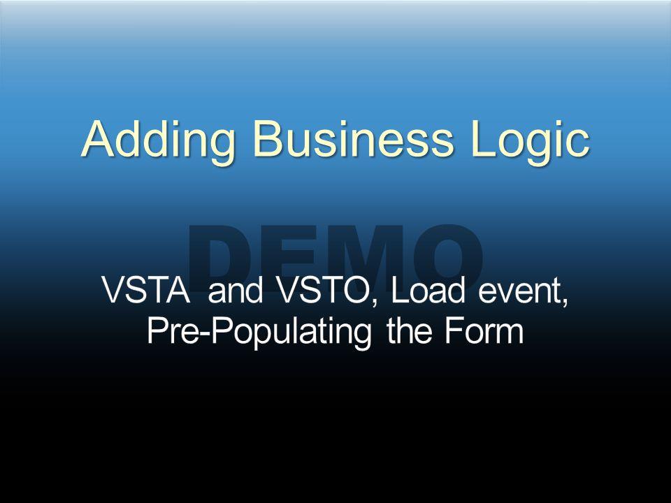 DEMO Adding Business Logic