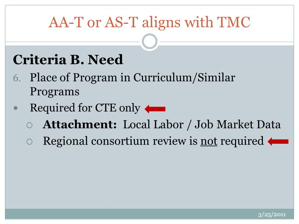 AA-T or AS-T aligns with TMC Criteria B. Need 6.