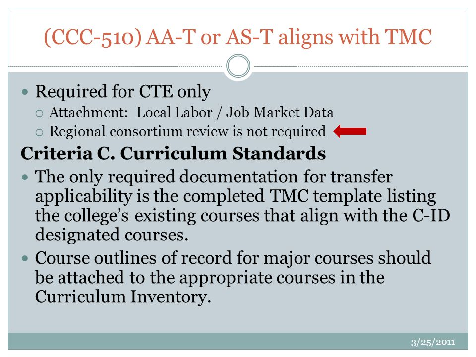 (CCC-510) AA-T or AS-T aligns with TMC Required for CTE only Attachment: Local Labor / Job Market Data Regional consortium review is not required Criteria C.