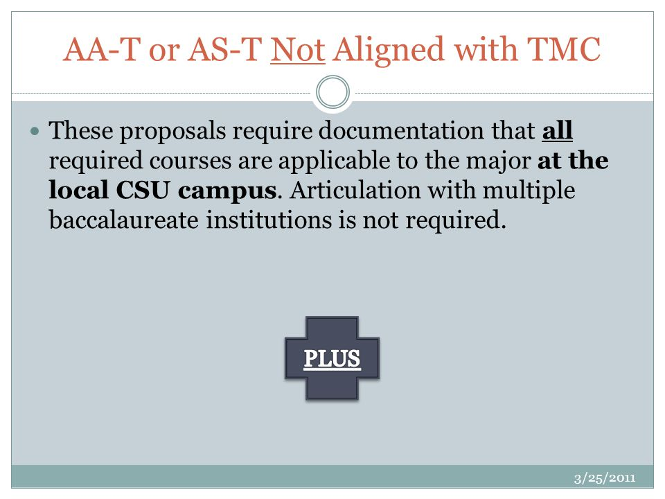 These proposals require documentation that all required courses are applicable to the major at the local CSU campus.