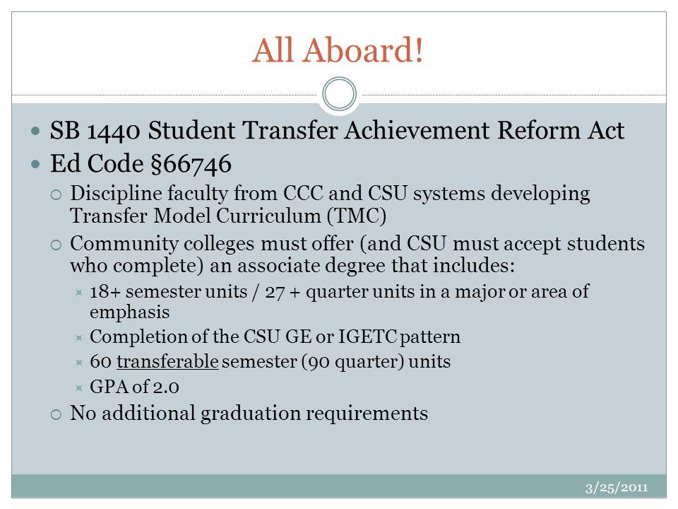 Pathway to Transfer Transfer Model Curriculum (TMC) Local curriculum process CCCCO approval Similar program or major at CSU 3/25/2011