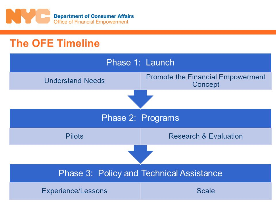The OFE Timeline Phase 3: Policy and Technical Assistance Experience/LessonsScale Phase 2: Programs PilotsResearch & Evaluation Phase 1: Launch Understand Needs Promote the Financial Empowerment Concept