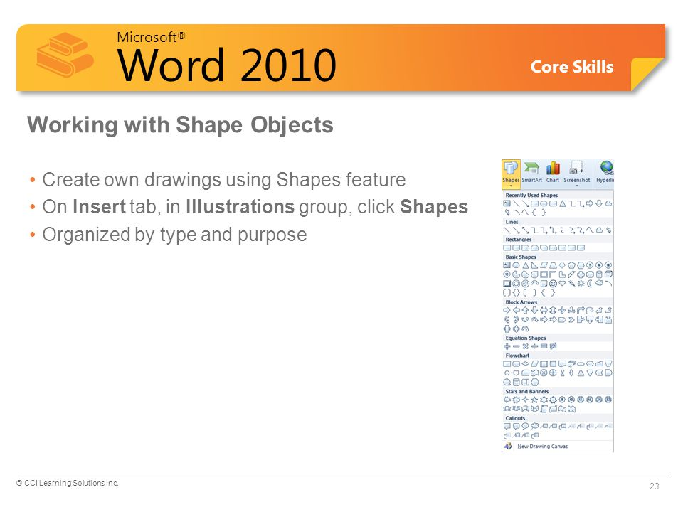 Microsoft ® Word 2010 Core Skills Working with Shape Objects Create own drawings using Shapes feature On Insert tab, in Illustrations group, click Shapes Organized by type and purpose © CCI Learning Solutions Inc.