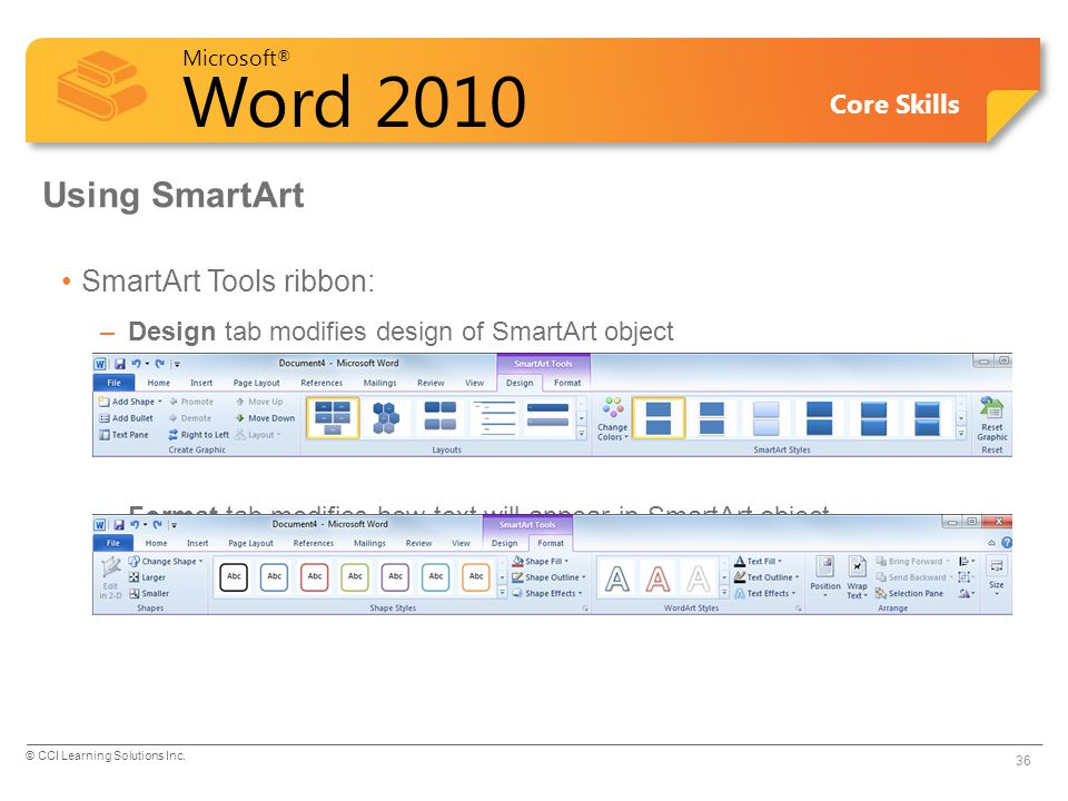 Microsoft ® Word 2010 Core Skills Using SmartArt SmartArt Tools ribbon: –Design tab modifies design of SmartArt object –Format tab modifies how text will appear in SmartArt object 36 © CCI Learning Solutions Inc.