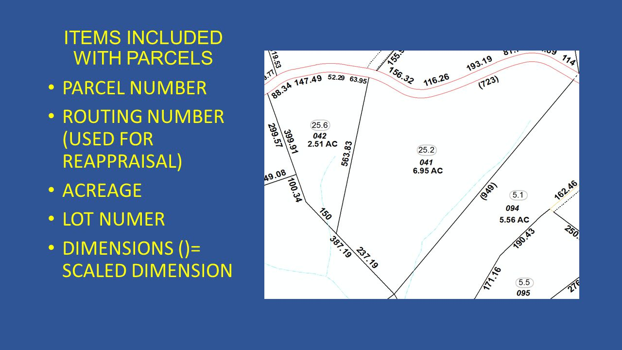 ITEMS INCLUDED WITH PARCELS PARCEL NUMBER ROUTING NUMBER (USED FOR REAPPRAISAL) ACREAGE LOT NUMER DIMENSIONS ()= SCALED DIMENSION