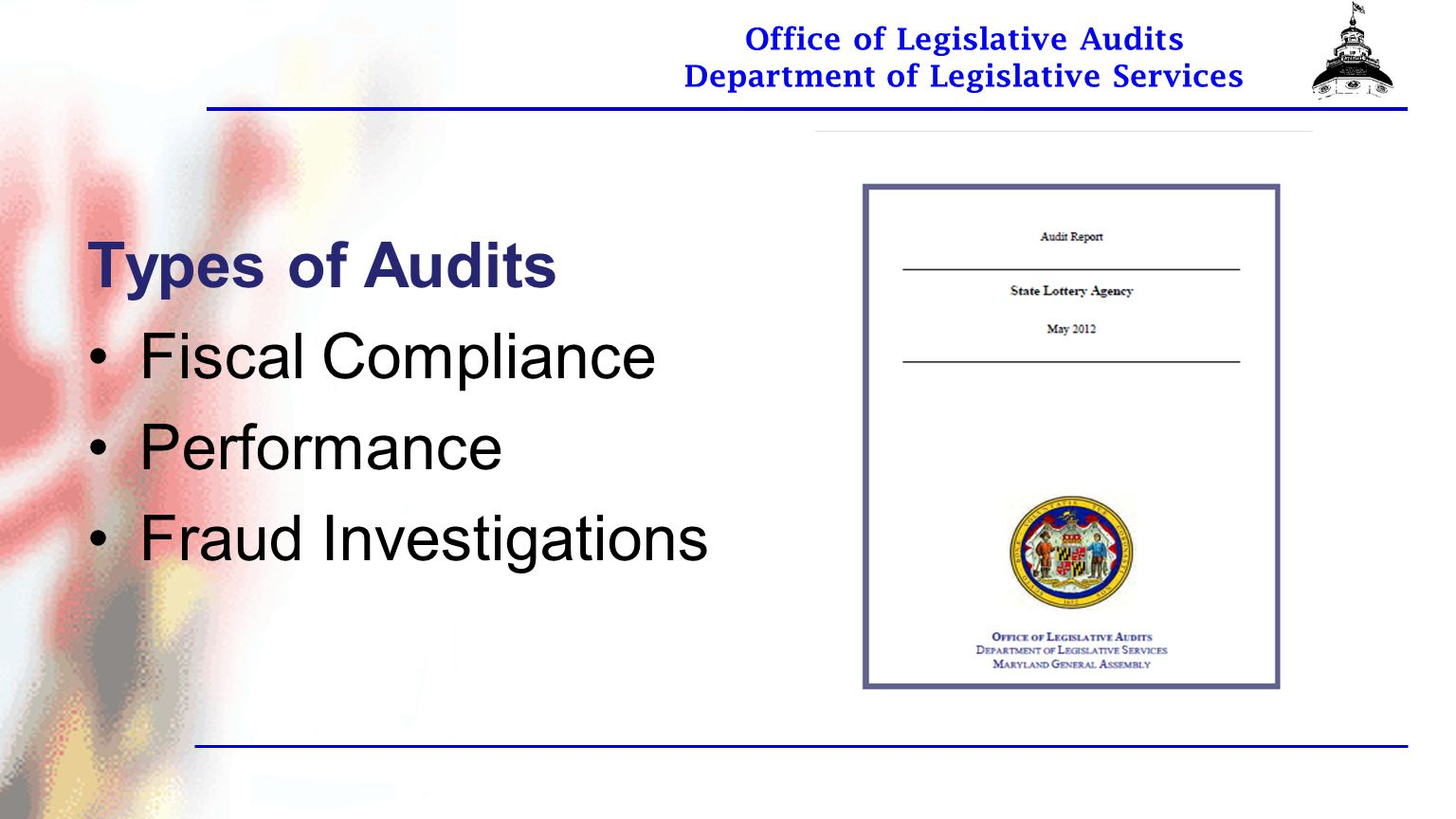 Office of Legislative Audits Department of Legislative Services OLA Website Visit our website to read our audit reports or obtain more information about OLA.