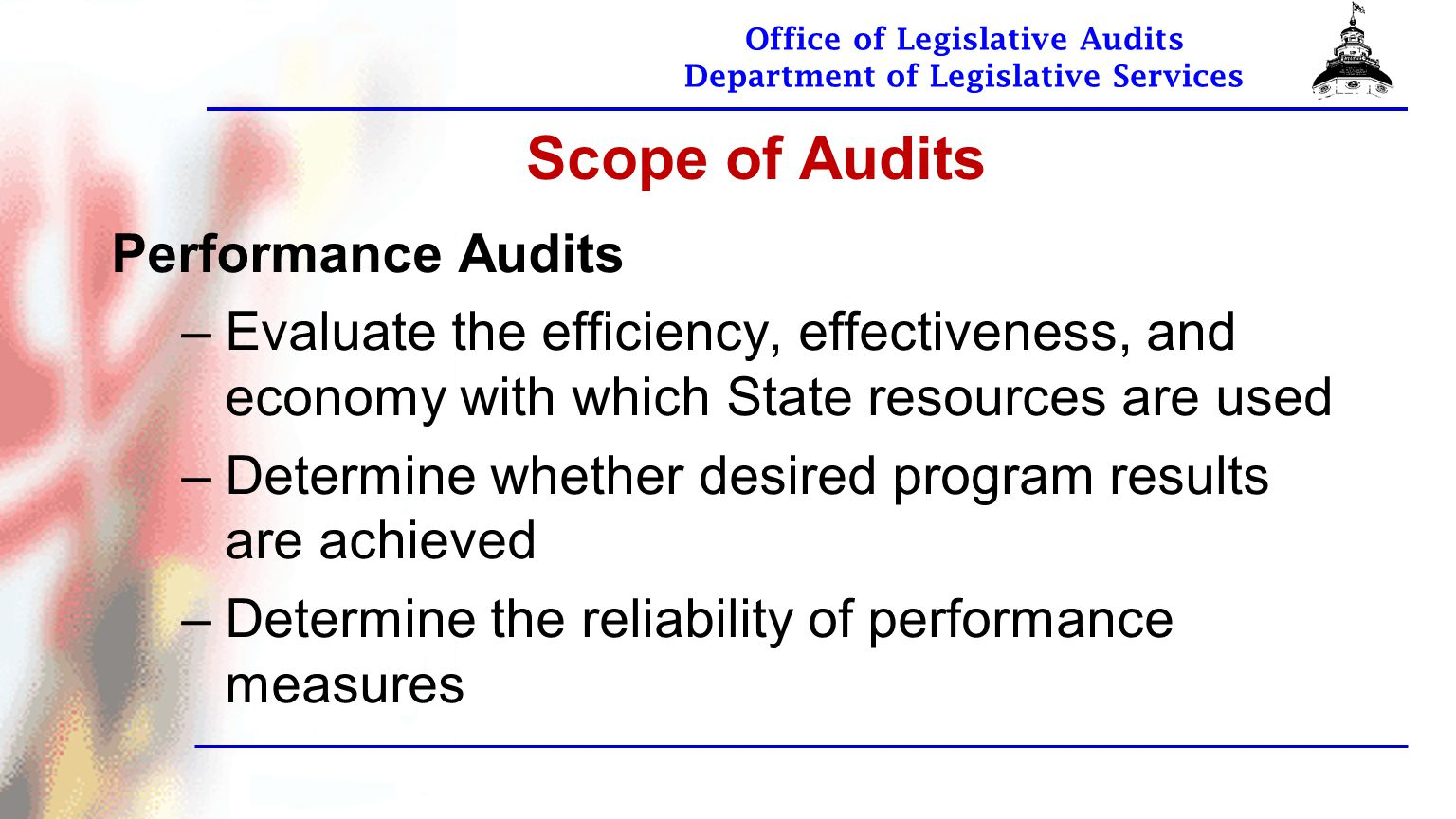 Office of Legislative Audits Department of Legislative Services OLA Fraud Hotline