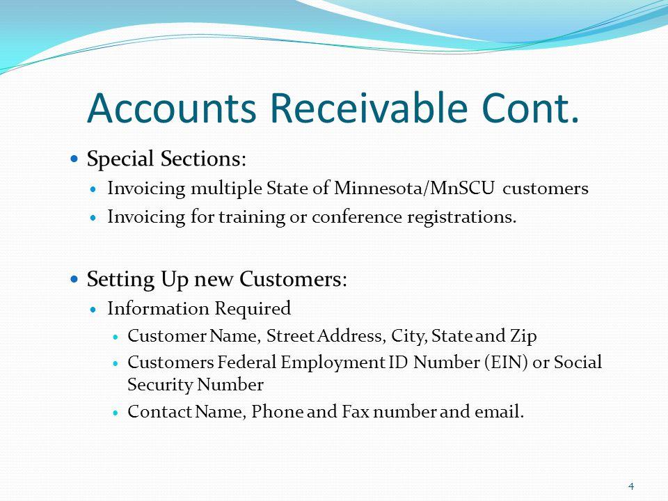 Accounts Receivable Cont.