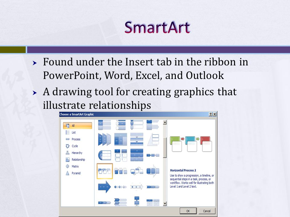 Found under the Insert tab in the ribbon in PowerPoint, Word, Excel, and Outlook A drawing tool for creating graphics that illustrate relationships
