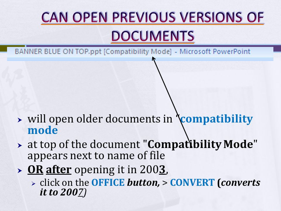 FILE commands similar to FILE menu in MS OFFICE 2003 right side of menu lists your recently opened documents Buttons at bottom-right to change OPTIONS/SETTINGS (In MS OFFICE 2003, you had to go to: TOOLS > OPTIONS)