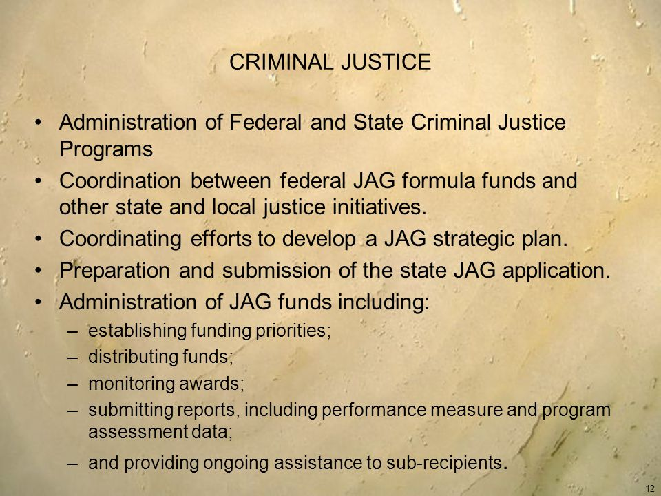 CRIMINAL JUSTICE Administration of Federal and State Criminal Justice Programs Coordination between federal JAG formula funds and other state and local justice initiatives.