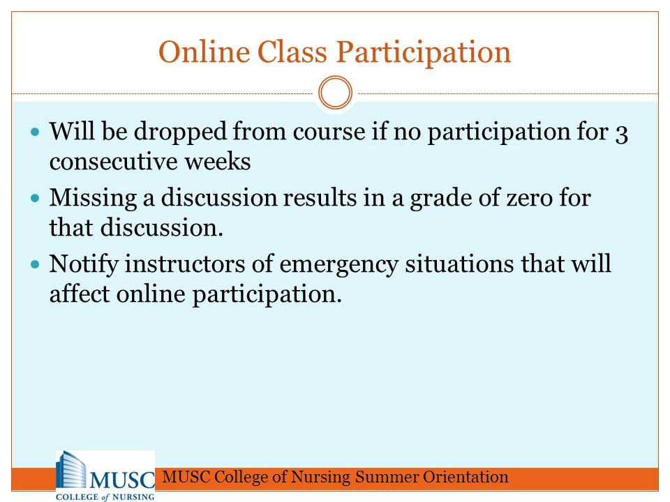 Online Class Participation Will be dropped from course if no participation for 3 consecutive weeks Missing a discussion results in a grade of zero for