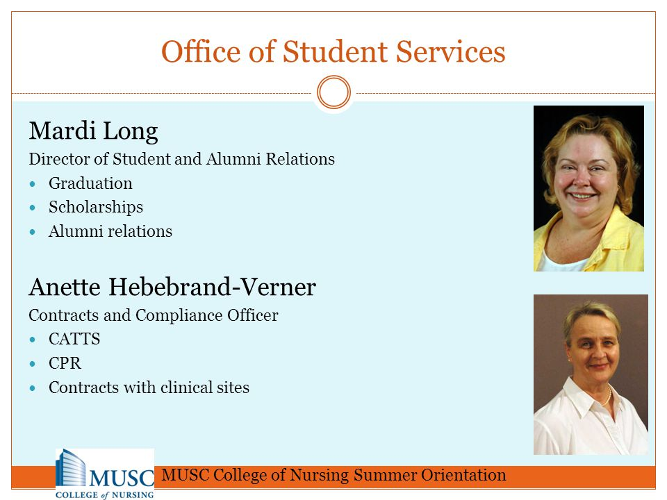 Handbooks/Guidelines Please refer to the CON Handbook for further policies Residency guidelines (DNP students) Process Improvement Guidelines (DNP students) Clinical Guidelines for NP students Get familiar with our CON website under Students & Applicants http://www.musc.edu/nursing http://dev.musc.edu/nursing2012/administration/stu dentservices/handbook.htm MUSC College of Nursing Summer Orientation