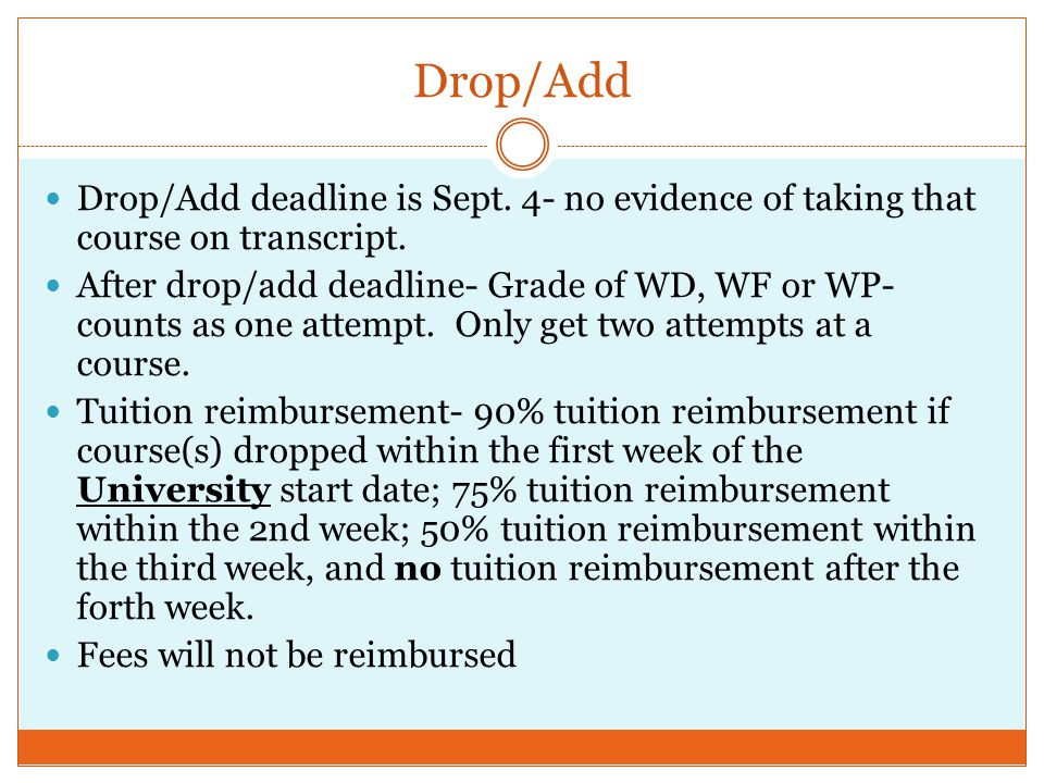 Drop/Add Drop/Add deadline is Sept. 4- no evidence of taking that course on transcript. After drop/add deadline- Grade of WD, WF or WP- counts as one