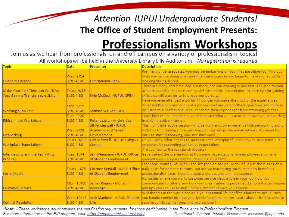 Attention IUPUI Undergraduate Students.