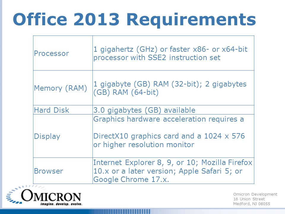 Omicron Development 16 Union Street Medford, NJ 08055 Office 2013 Requirements Processor 1 gigahertz (GHz) or faster x86- or x64-bit processor with SSE2 instruction set Memory (RAM) 1 gigabyte (GB) RAM (32-bit); 2 gigabytes (GB) RAM (64-bit) Hard Disk3.0 gigabytes (GB) available Display Graphics hardware acceleration requires a DirectX10 graphics card and a 1024 x 576 or higher resolution monitor Browser Internet Explorer 8, 9, or 10; Mozilla Firefox 10.x or a later version; Apple Safari 5; or Google Chrome 17.x.