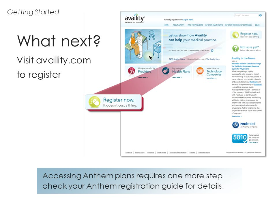 Getting Started Accessing Anthem plans requires one more step check your Anthem registration guide for details. What next? Visit availity.com to regis