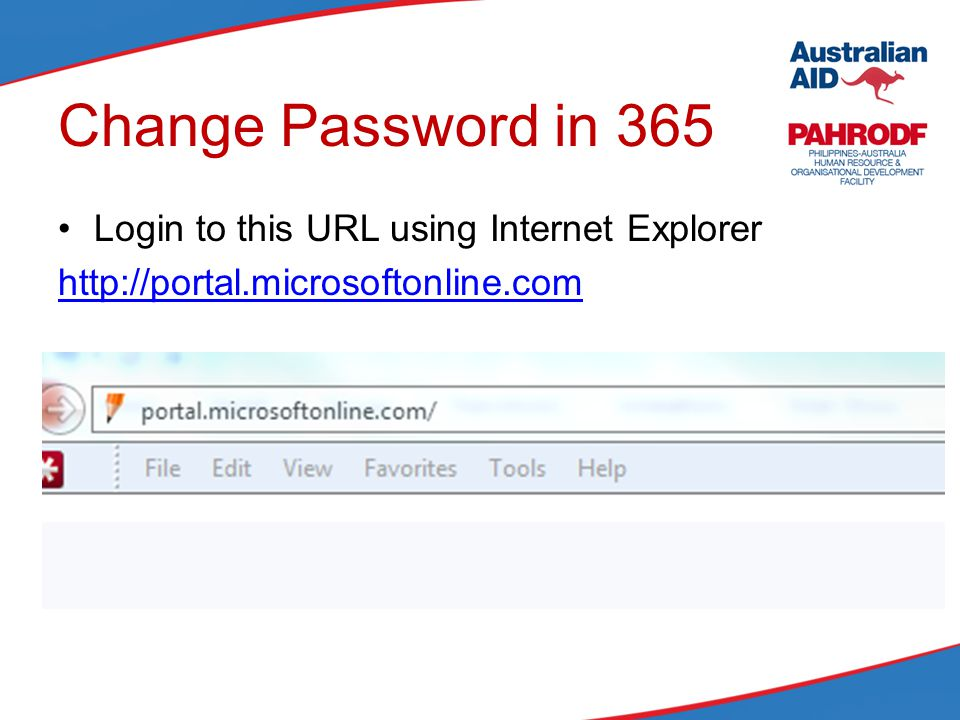 Change Password in 365 Login to this URL using Internet Explorer http://portal.microsoftonline.com