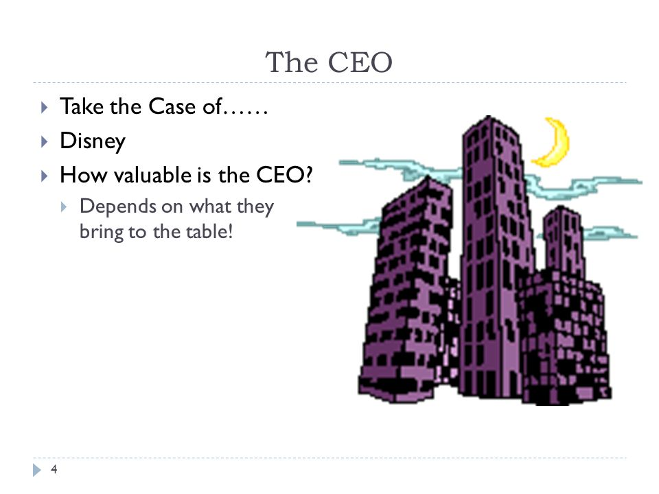 4 The CEO Take the Case of…… Disney How valuable is the CEO.