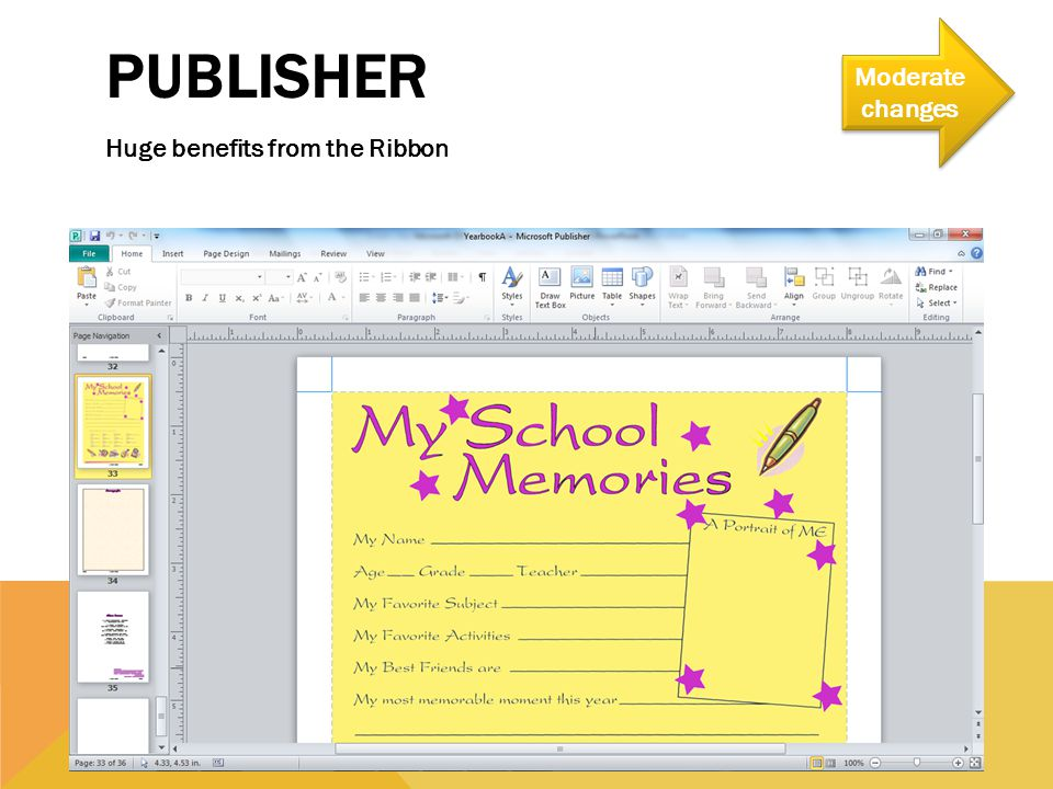 PUBLISHER Huge benefits from the Ribbon Moderate changes