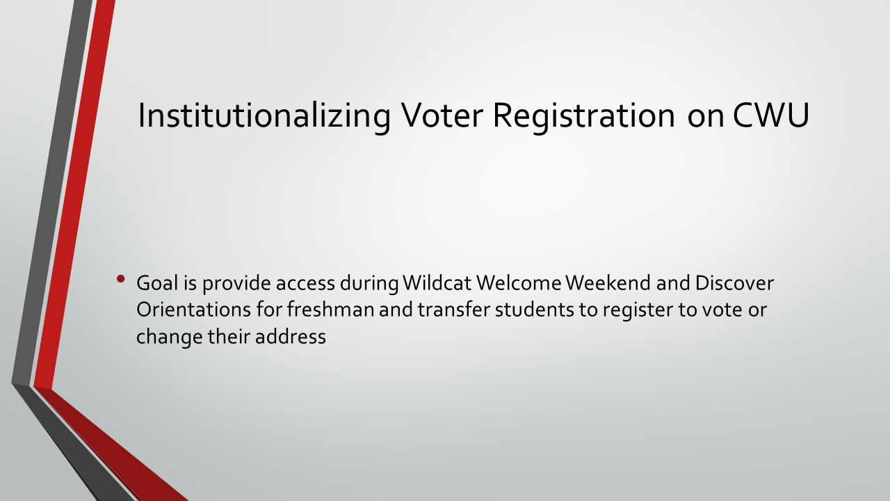 Institutionalizing Voter Registration on CWU Goal is provide access during Wildcat Welcome Weekend and Discover Orientations for freshman and transfer