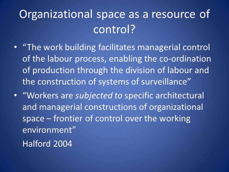Organizational space as a resource of control? The work building facilitates managerial control of the labour process, enabling the co-ordination of p
