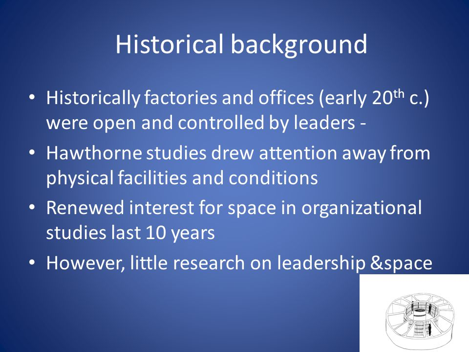 Historical background Historically factories and offices (early 20 th c.) were open and controlled by leaders - Hawthorne studies drew attention away