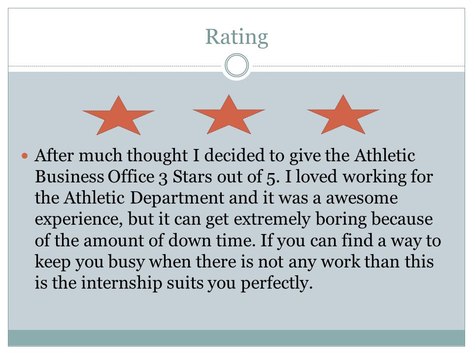 Rating After much thought I decided to give the Athletic Business Office 3 Stars out of 5.