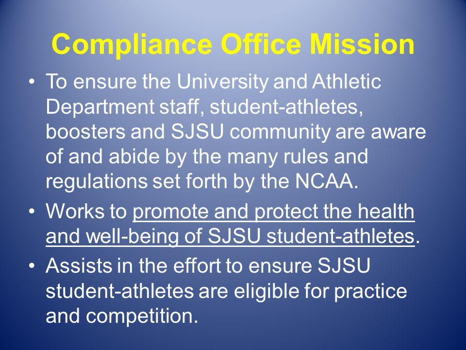 Compliance Office Staff Lynn Meade, Associate Athletic Director of Compliance @ lynn.meade@sjsu.edu or 408- 924-1514 Wendy Dunn, Director of Compliance @ wendy.dunn@sjsu.edu or 408-924-1349 Nick Sterkel, Assistant Director of Compliance @ nick.sterkel@sjsu.edu or 408- 924-1198 Julie Stansberry, Student Services Coordinator @ julie.stansberry@sjsu.edu or 408-924-1201