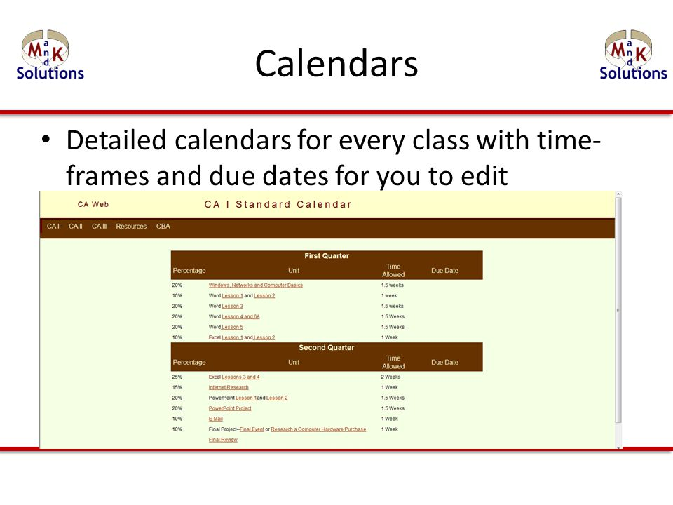 Calendars Detailed calendars for every class with time- frames and due dates for you to edit