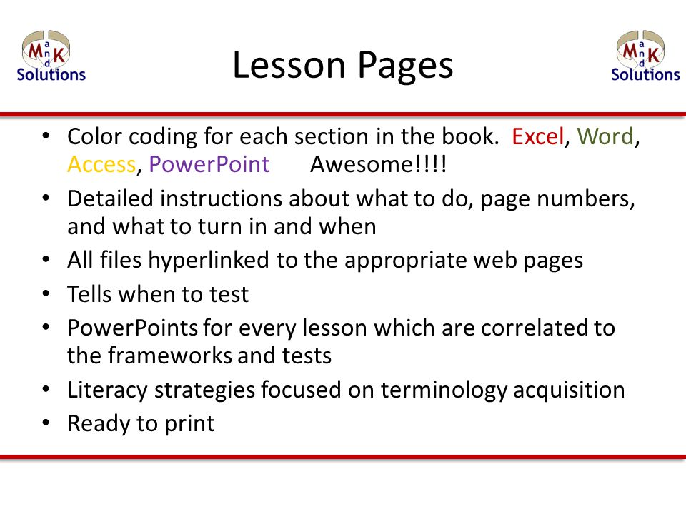 Lesson Pages Color coding for each section in the book.