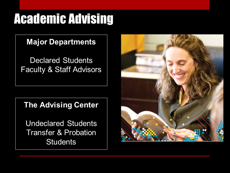 Academic Advising Major Departments Declared Students Faculty & Staff Advisors The Advising Center Undeclared Students Transfer & Probation Students