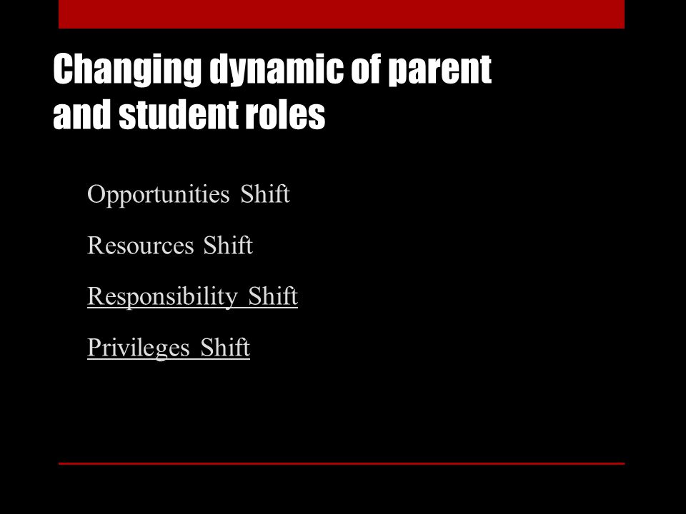 Changing dynamic of parent and student roles Opportunities Shift Resources Shift Responsibility Shift Privileges Shift
