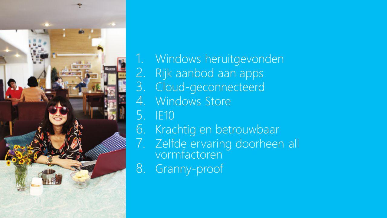 1. Windows heruitgevonden 2. Rijk aanbod aan apps 3. Cloud-geconnecteerd 4. Windows Store 5. IE10 6. Krachtig en betrouwbaar 7. Zelfde ervaring doorhe