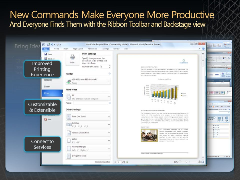 Backstage Examples (Click Image) Updated User Interface: Ribbon toolbar is now in all Office 2010 applications and the new Microsoft Office Backstage view is introduced, providing quick access to important operations such as viewing document information, saving, printing, and sharing.